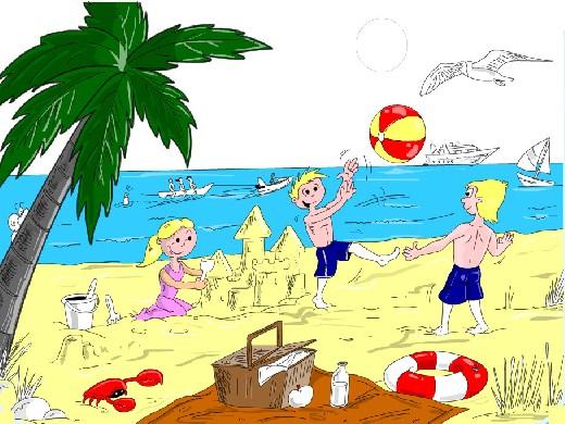 Obrázek, online omalovánka pro malé děti k vybarvení Léto, Krajina Obrázky ke stažení a vytištění zdarma.